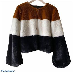 Forever 21 Color Block Faux Fur Coat Sz L